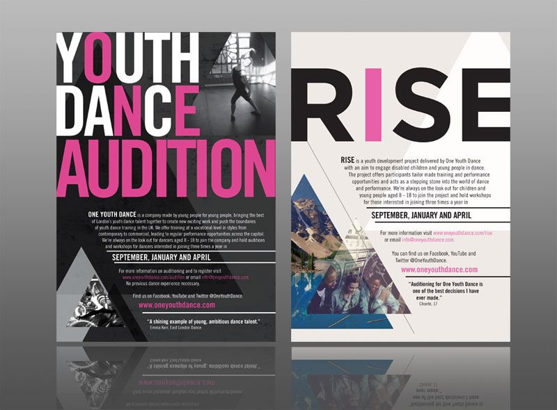 leaflet design for one youth dance with a classy, contemporary urban - contemporary flyer