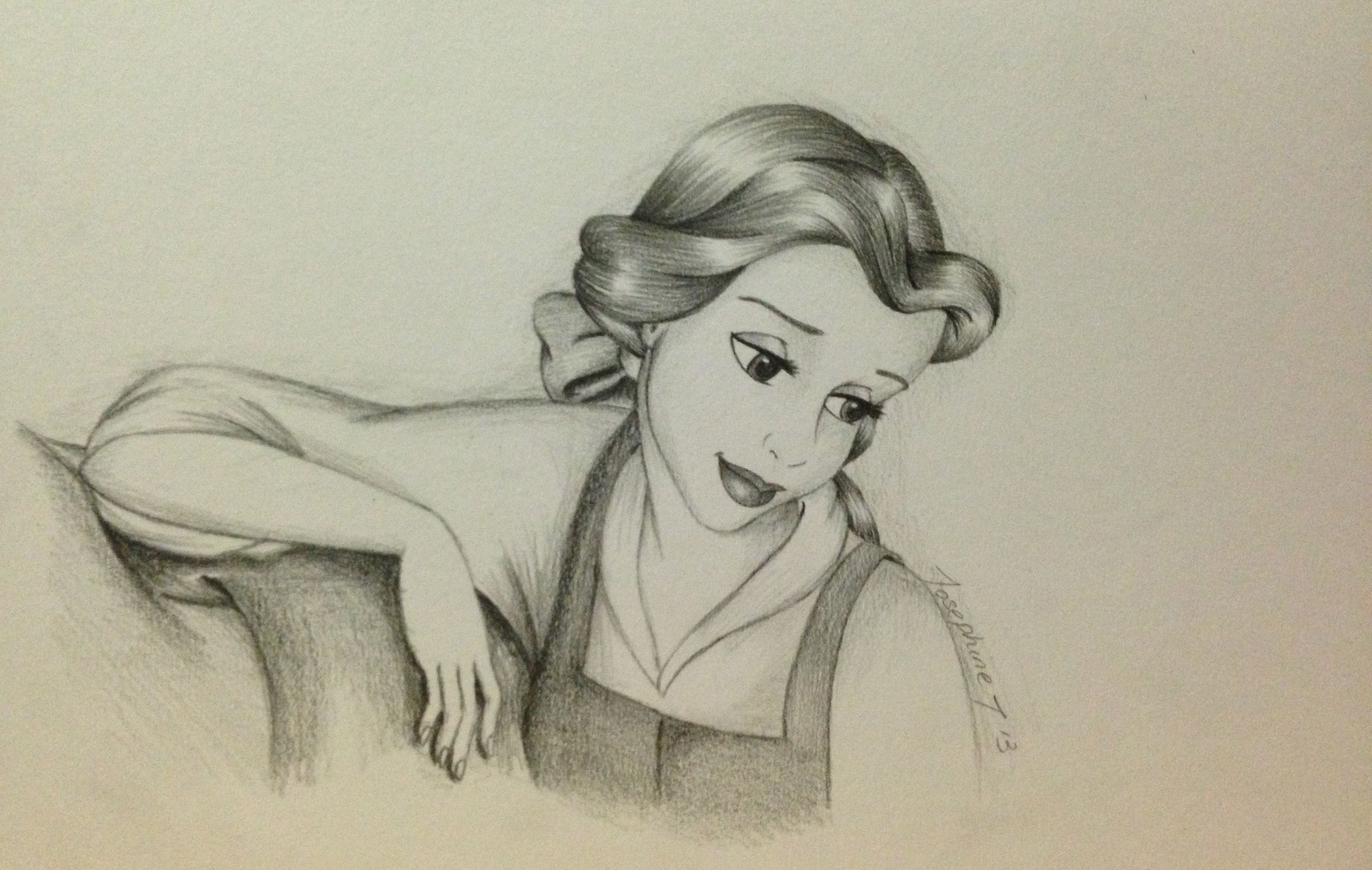 Pencil Drawing Of Belle Beauty And The Beast Belle Drawing