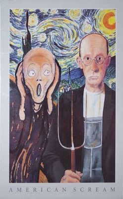"""Parody of """"The Scream"""" and """"American Gothic"""""""