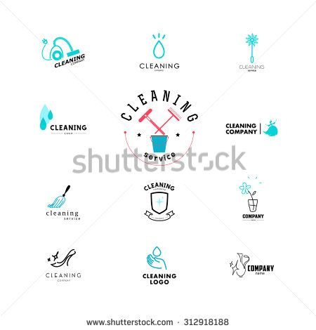 Vector collection of flat logo for cleaning company. Clearing ...