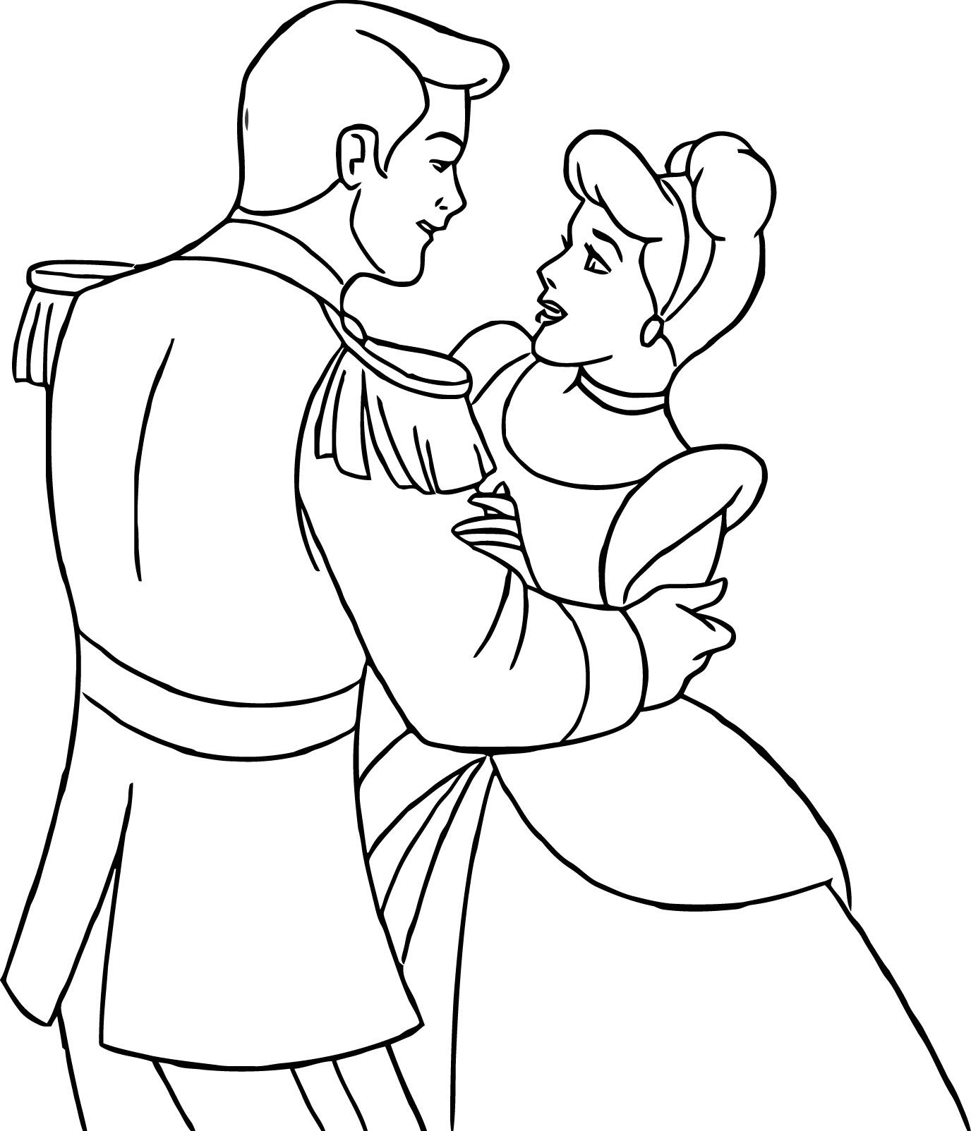 Cinderella And Prince Charming Coloring Pages Cinderella
