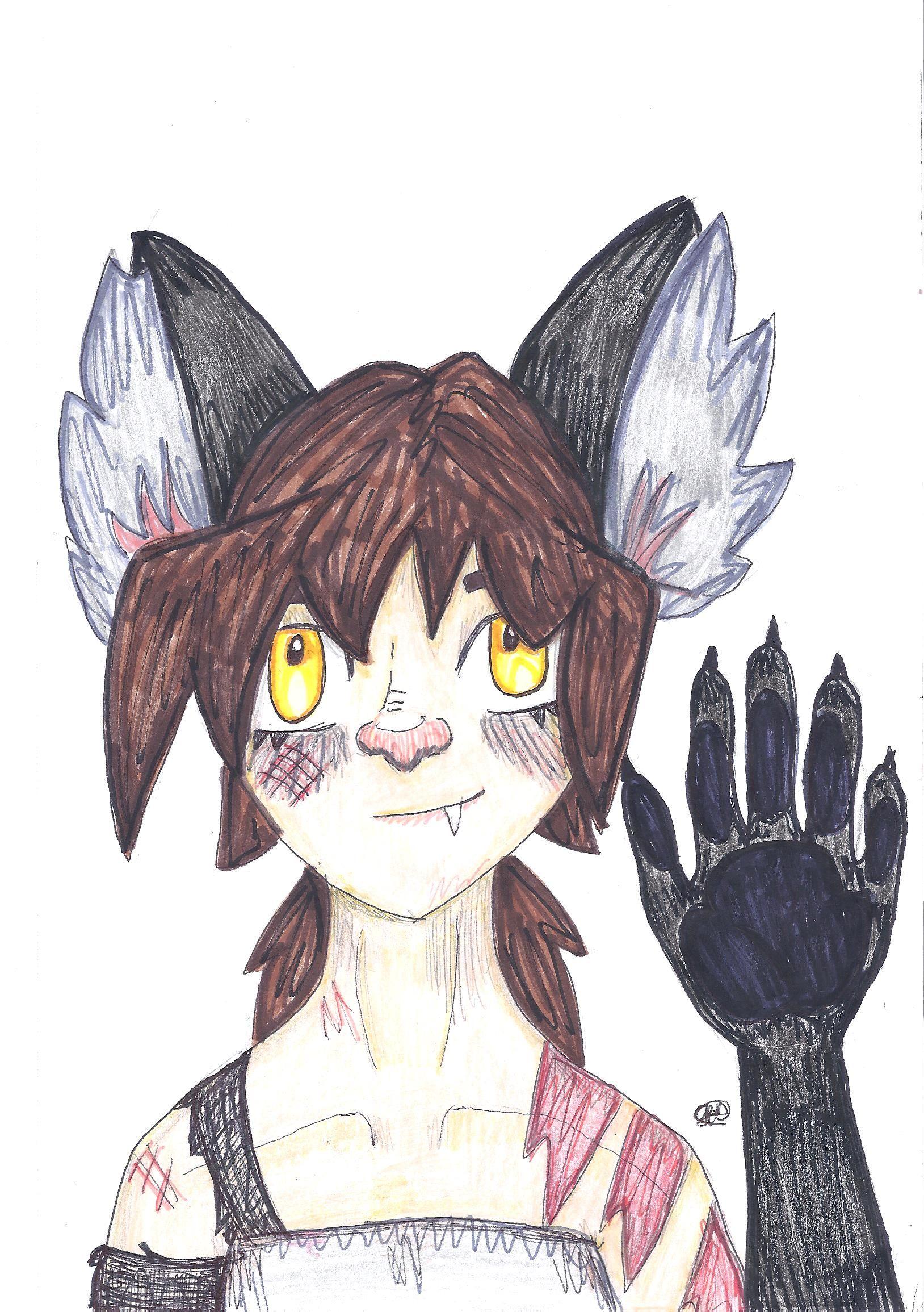 Its Kaelie my OC, the hand is a bit weird but whatever...