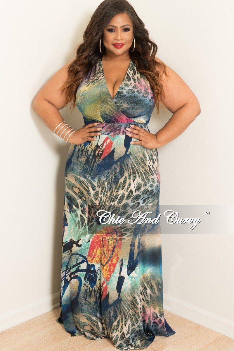 New plus size sleeveless faux wrap dress in royal blue animal print
