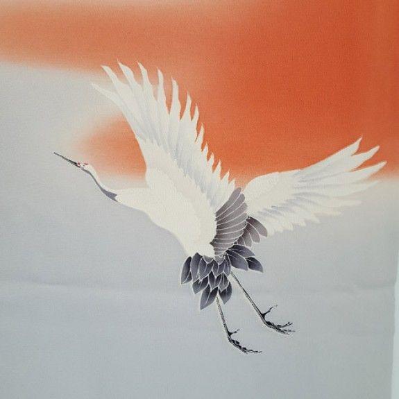 Flying crane on a Japanese silk furisode