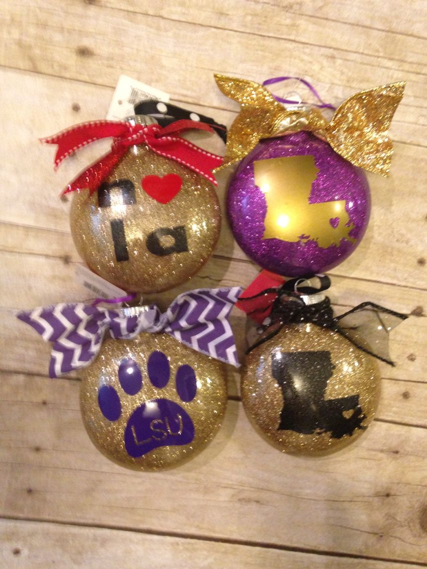 Lsu and Nola glitter ornaments! | My Vinyl creations that I\'ve done ...