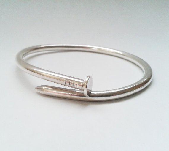 Nail Bracelet Cartier Inspired Silver Nail By Januaryjewelryshop 90 00 Pulseras Hombre Joyas Pulseras De Plata De Ley