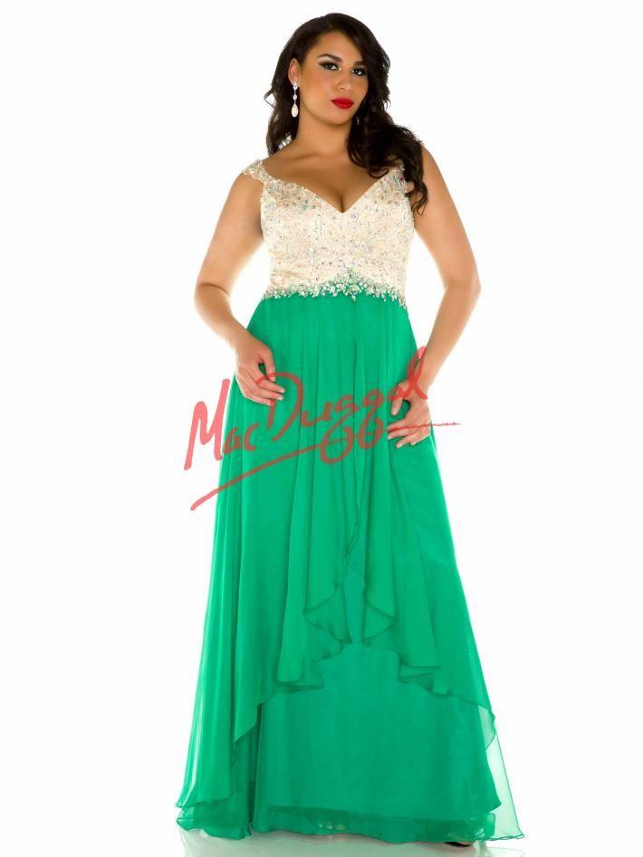 79b624846 Emerald Green Prom Dress | Plus Size Prom Gown | Mac Duggal 82421F ...