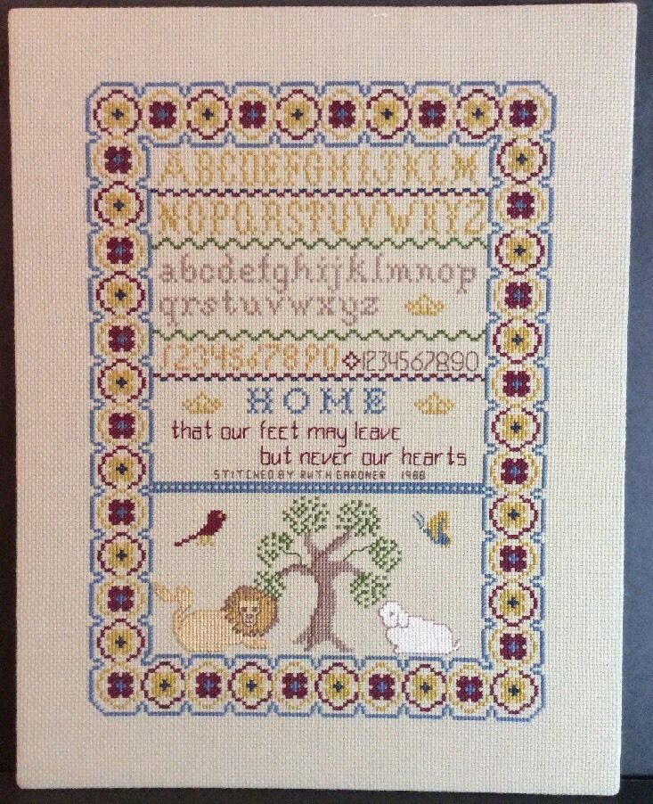 Cross Stitch Sampler Completed Ready to Frame Home Feet Leave Never Heart Tree | eBay