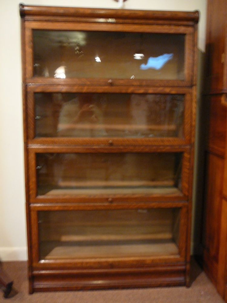 S10 Antique Lundstrom Oak Barrister Lawyer 4 Stack Bookcase