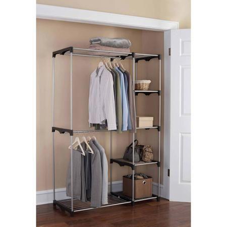 Mainstays Wire Shelf Closet Organizer Black Silver Closet Shelf Organization Wire Closet Shelving Closet Organizing Systems
