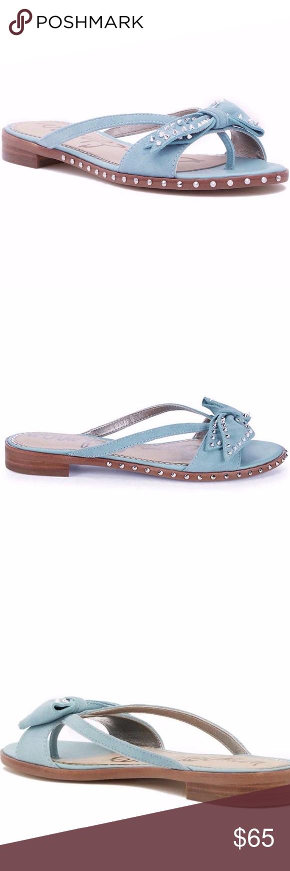 9aea48f969d8 Sam Edelman Dariel Bow Studded Sandals Size 10 ANTHROPOLOGIE Sam Edelman  Dariel Thong Sandals Blue Size