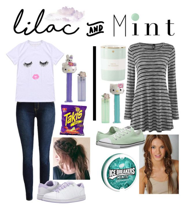 """""""Lilac&Mint Contest"""" by princess-llyssa ❤ liked on Polyvore featuring Converse, K-Swiss, Hello Kitty, Kate Spade and Essie"""