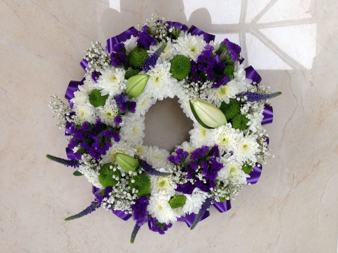 Purple Wreath Funeral Flowers Pinterest Funeral Flowers