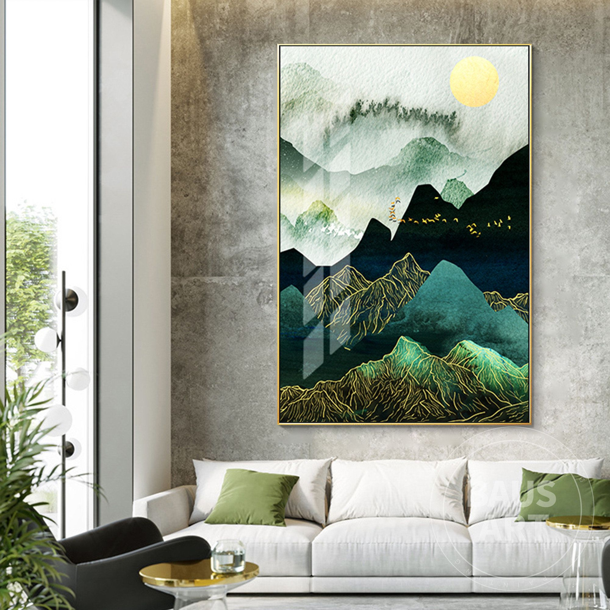 Green Mountains Framed Prints Wall Art Modern Minimalist Art Etsy In 2020 Framed Prints Wall Blue Art Prints Wall Art Pictures
