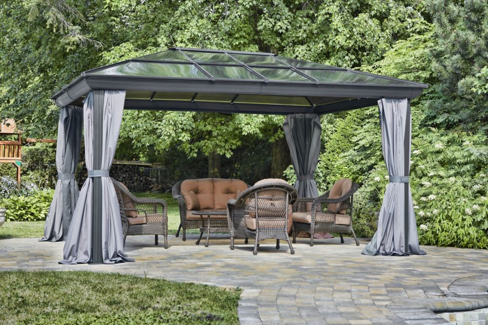 12 Ft X14 Ft Gazebo In Grey Patio Gazebo Patio All Seasons Gazebo