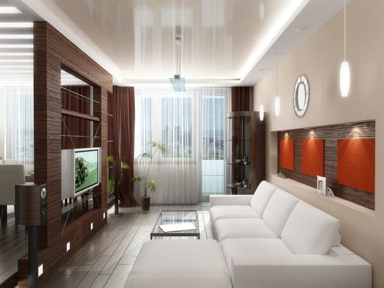 HolzRaumteiler Mit Tv Und Orange Wandplatten Als Symbole Des - Feng shui wohnzimmer tipps