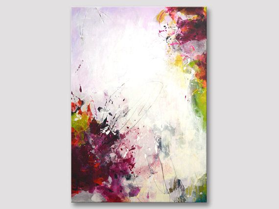 Original large colorful abstract painting, modern art, bold colors ...