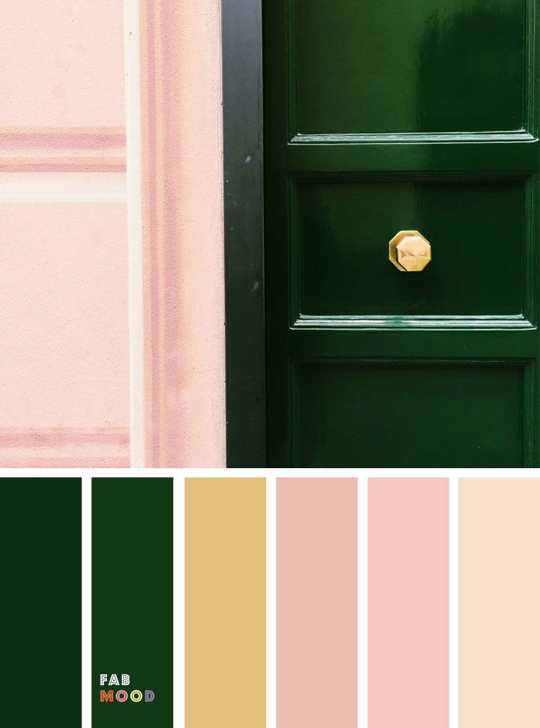 Green emerald and pink color palette with gold accents