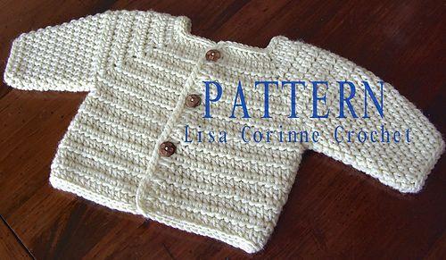 Baby Boy Sweater Jacket #33 pattern by Lisa Corinne Crochet