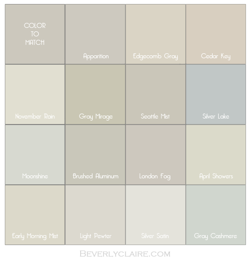 Color Matching Our Chip With Benjamin Moore Paint Chips Apparition London Fog Seattle Mist