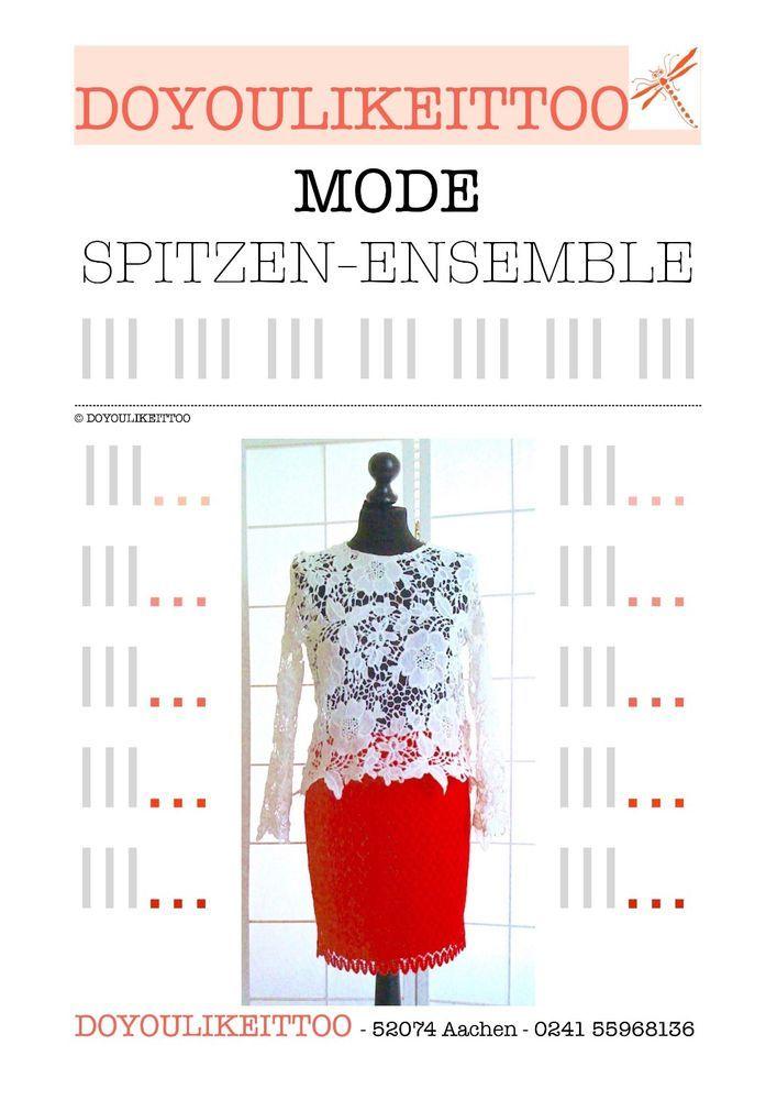 DAMEN-KLEID, 2-teiliges ENSEMBLE aus Spitze, rot-weiß, Gr.M, in Kleidung & Accessoires, Damenmode, Kleider | eBay