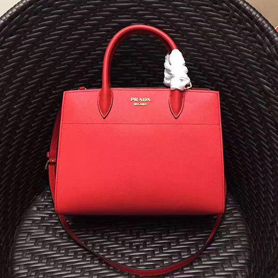 51c7a50c0e19 Prada Small Bibliotheque Saffiano Leather Bag Red 1BA050   Prada ...