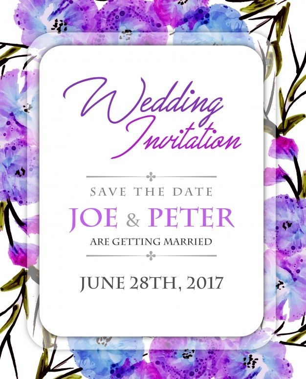 Download Floral Wedding Invitation With Purple Watercolor For Free
