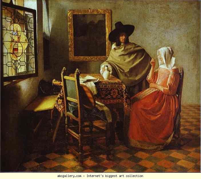 Jan Vermeer. The Glass of Wine. c.1658-1660. Oil on canvas. Staatliche Museen zu Berlin, Gemaldegalerie, Berlin, Germany.