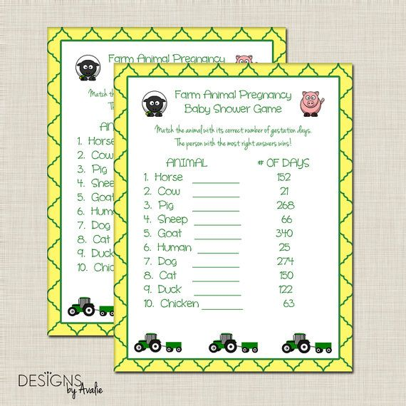 INSTANT DOWNLOAD Green and Yellow Farm Animal Pregnancy Baby Shower