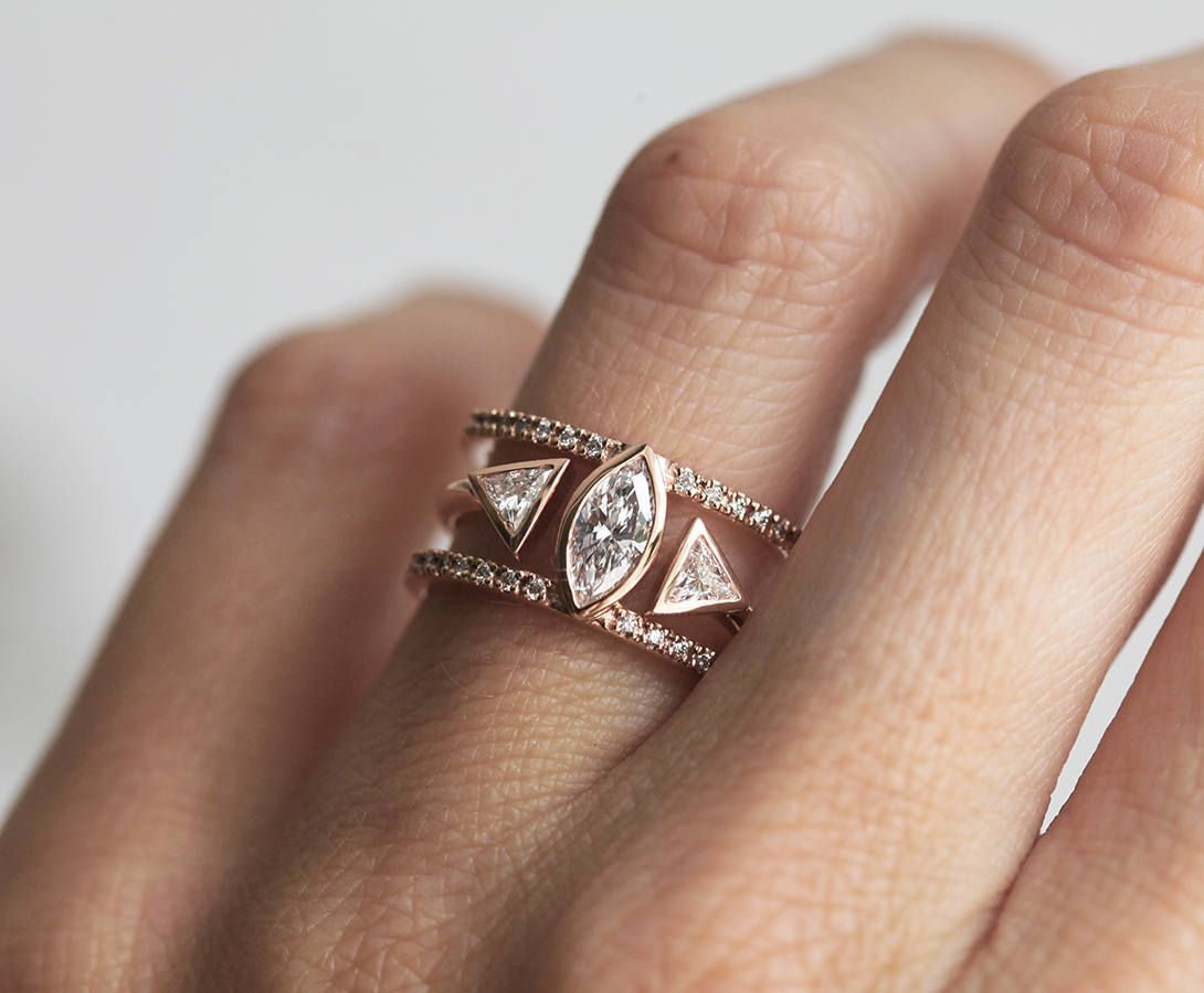 Spectacular Stacking Set Of An Open Trilliond Diamond Ring And A Marquise Shaped Double Band