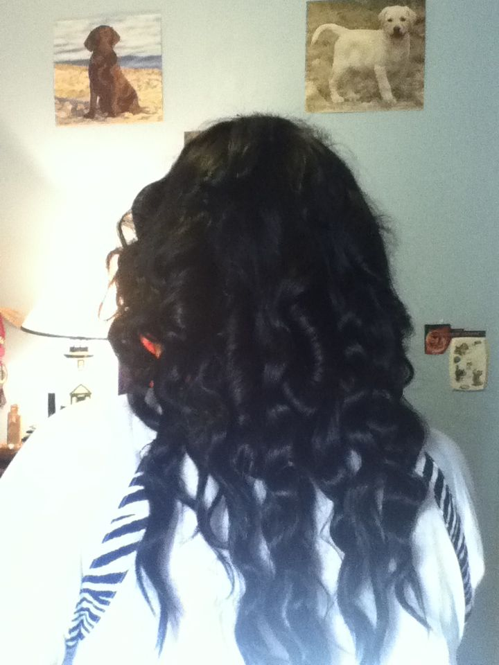 Easy way to curl hair with regular curling-iron. Spray hairspray before and after and it'll hold all day.