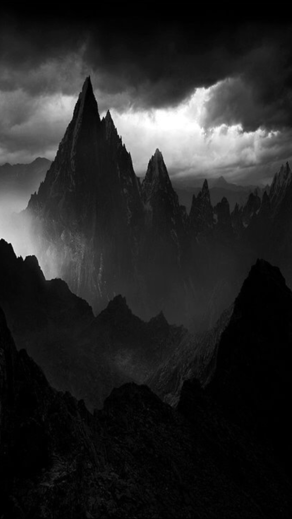 Black And White Mountain Wallpaper With Images Fantasy