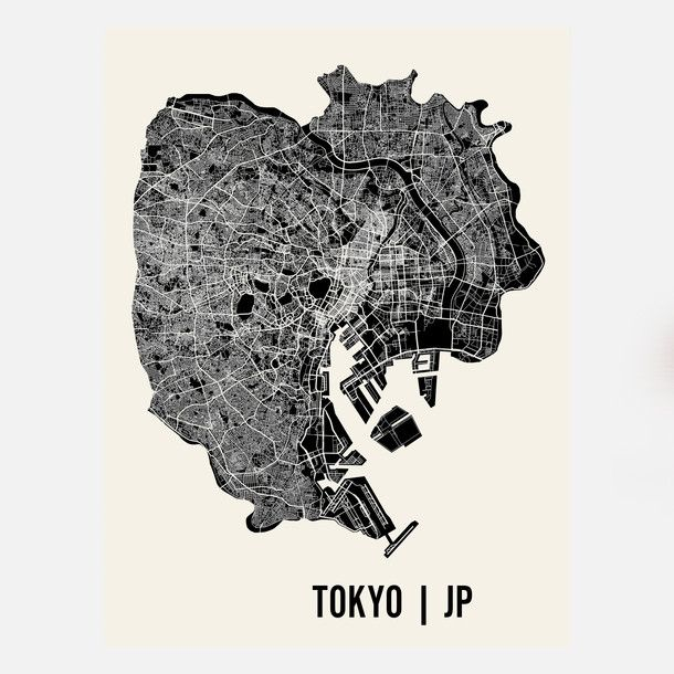 Tokyo Map Print map love Pinterest Tokyo map, Tokyo and - new world map showing tokyo japan