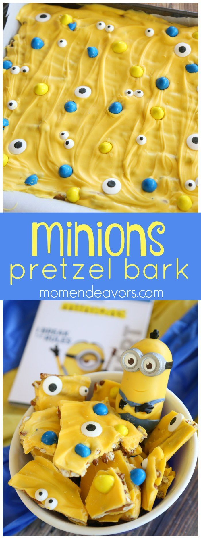 Pretzel Bark - perfect for a Minions or Despicable Me Movie Night or Kids Birthday Party!