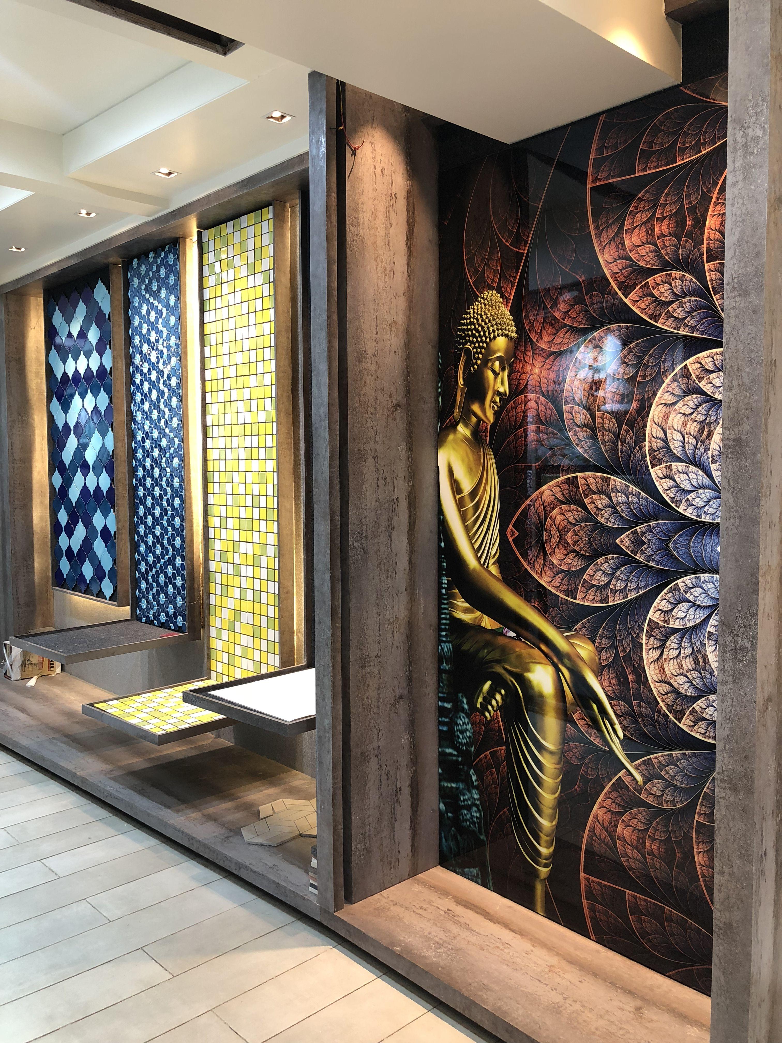 Mosaics Mural Wall Display Mockup Trendy Modern Showroom