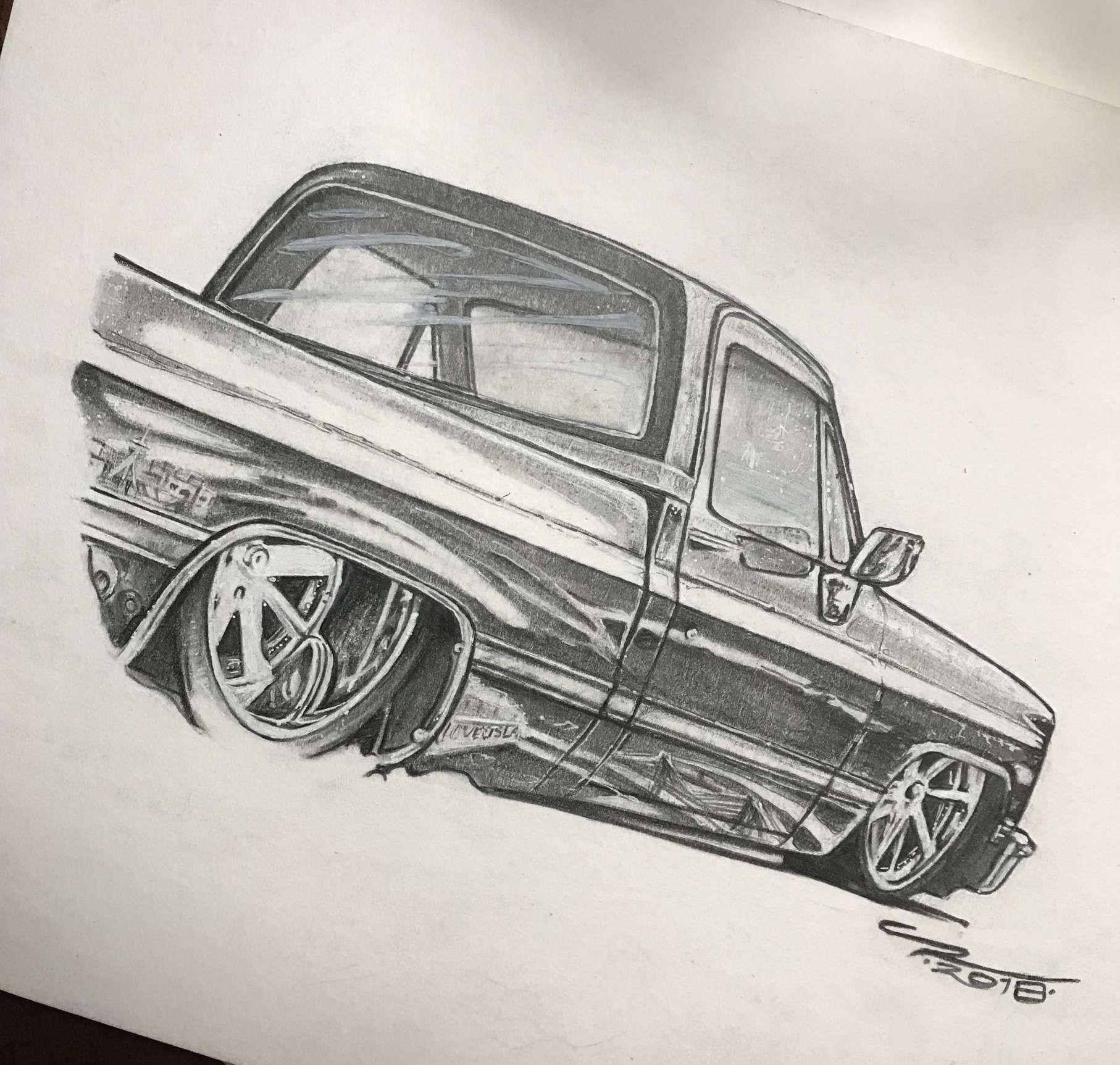 17 Custom Truck Drawings Tatuajes De Coche Camioneta Dibujo Camiones Chevy