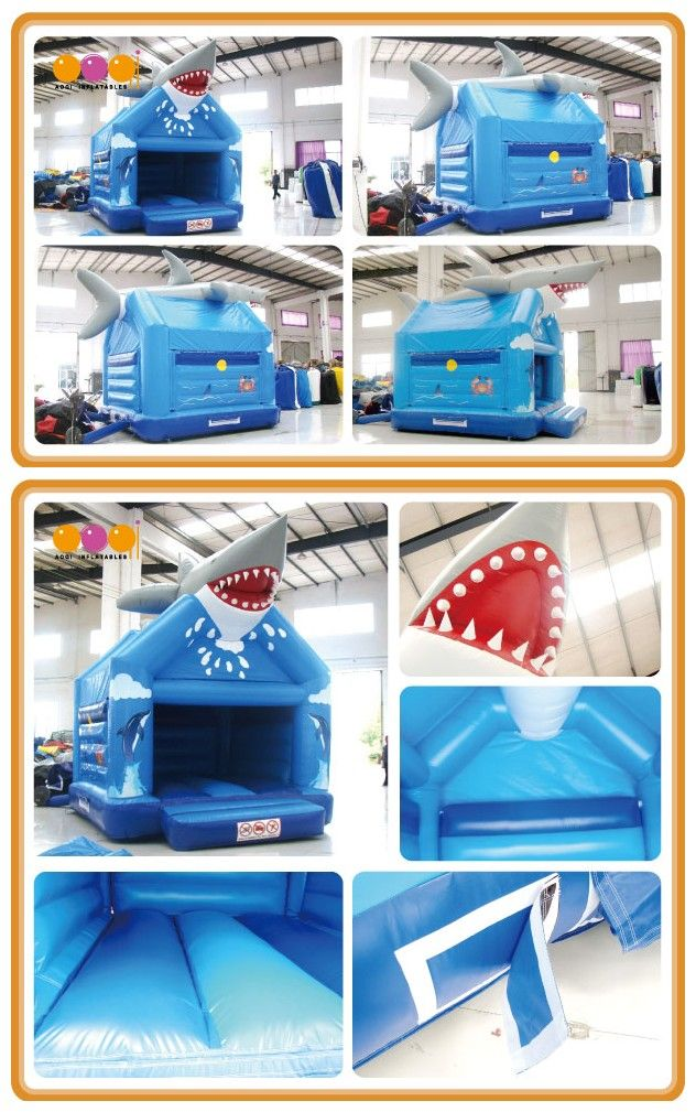 AQ02265(4x5m/13.12'*16.4') In the top of the bouncer there is a shark opening his mouth.It's amazing visually!Entering from the door of the bouncer there is a wide bouncer area for you to playing.