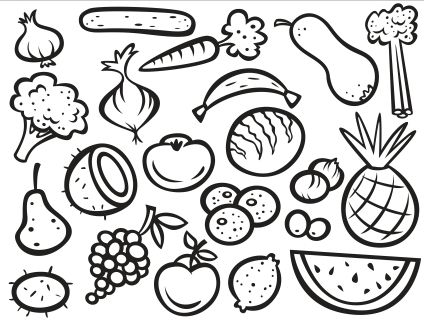Fruits And Vegetables Coloring Pages Pdf Page 1 Free Download