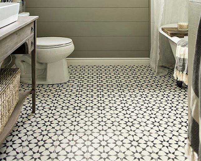 Stylish Bathroom Floor In 2020 Bathroom Floor Tile Patterns Patterned Bathroom Tiles Vintage Bathroom Floor