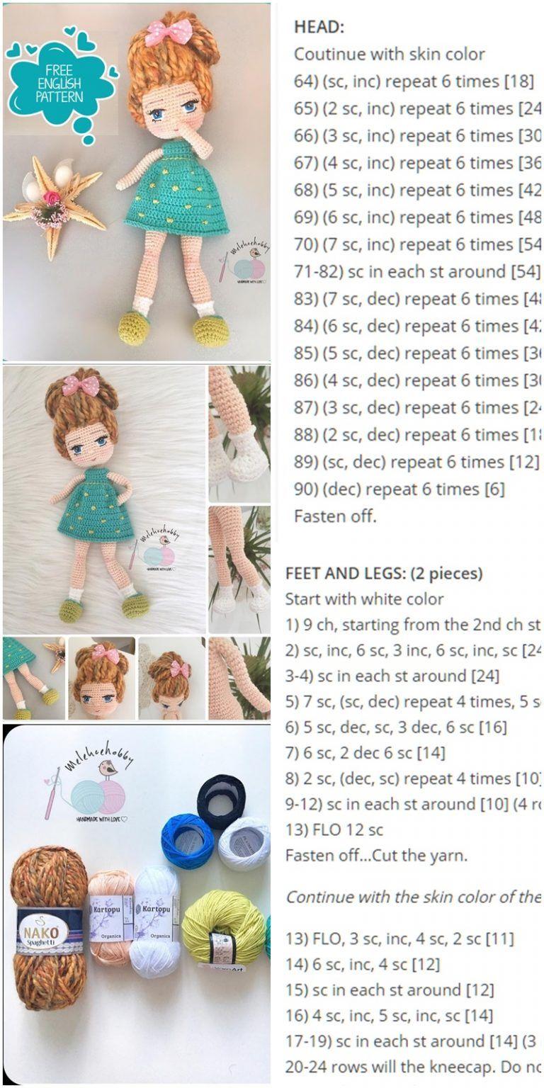 Amigurumi Mina Doll Free Crochet Pattern - Crochet.msa.plus #amigurumi
