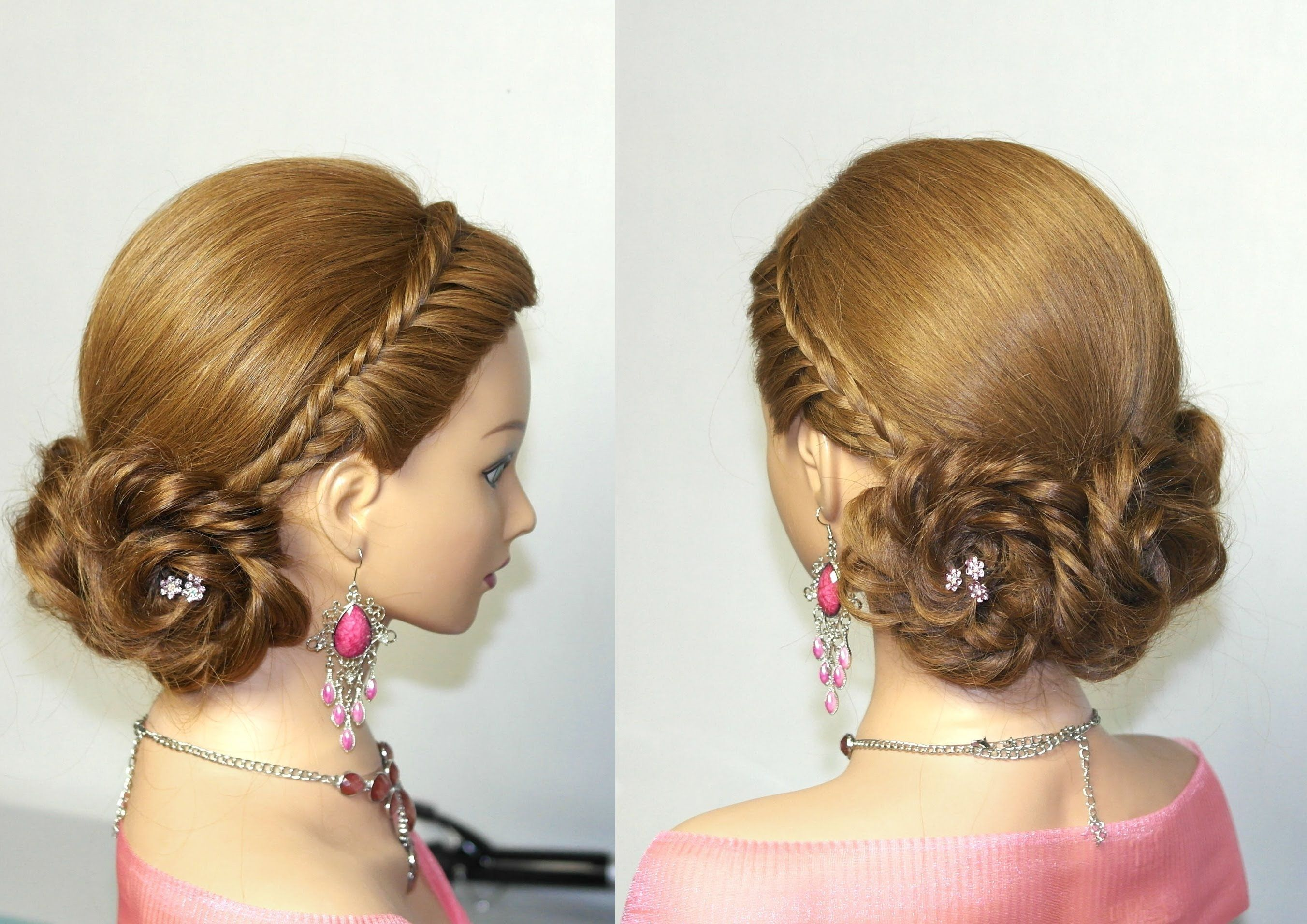 Prom, bridal hairstyles for long hair. Braided updo