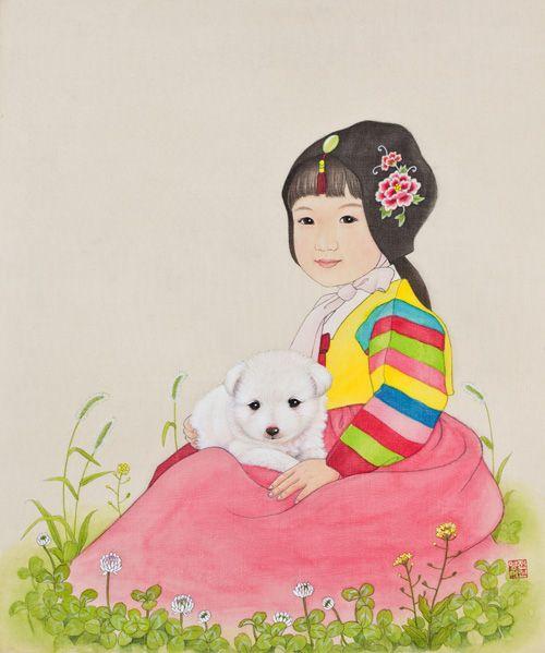 "Youngmi Jeon, ""우리 누나""(My Sister, 2011)_비단에 채색(painting on silk)"