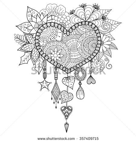 Heart shape floral dream catcher for coloring book for