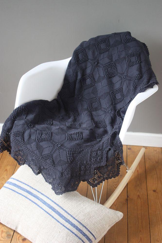 Superbe Couvre Lit Ou Grand Plaid Ancien Crochete Main Et Teint