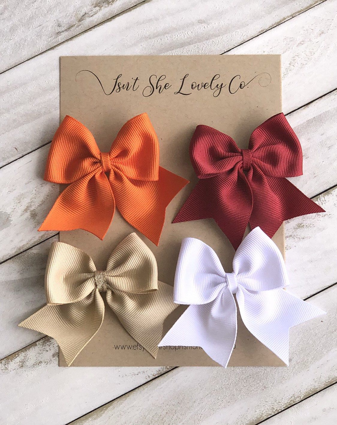 Fall Autumn Bow Collection | Hair Bow Bundle Set | 3-4 inch Hairbows | Baby Girl Bows | Set of Classic School Girl Bows | Fabric Hair bows |