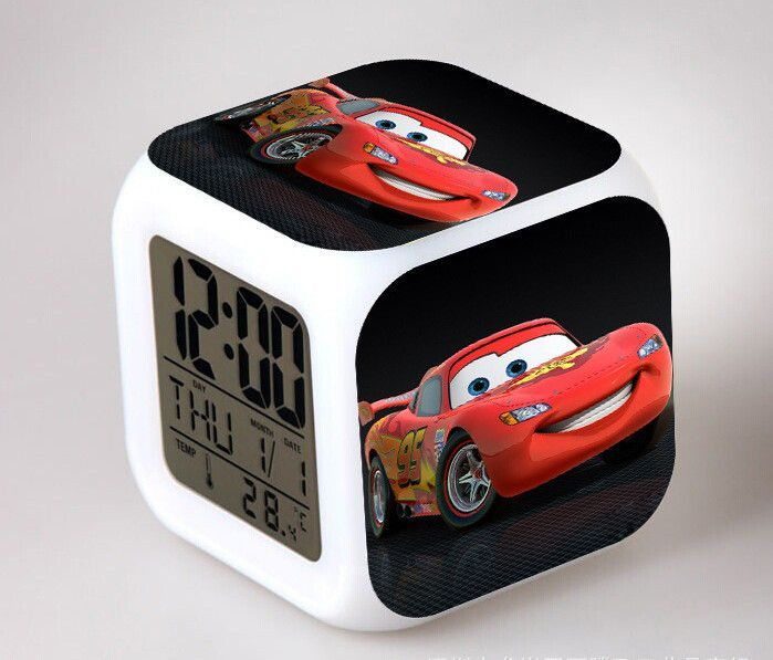 Cute Pixar Cars Mater Alarm Clock,3d Film Pixar Cars Mater Glowing LED Color Change Digital Alarm Clock,Kid Room toy Alarm Clock