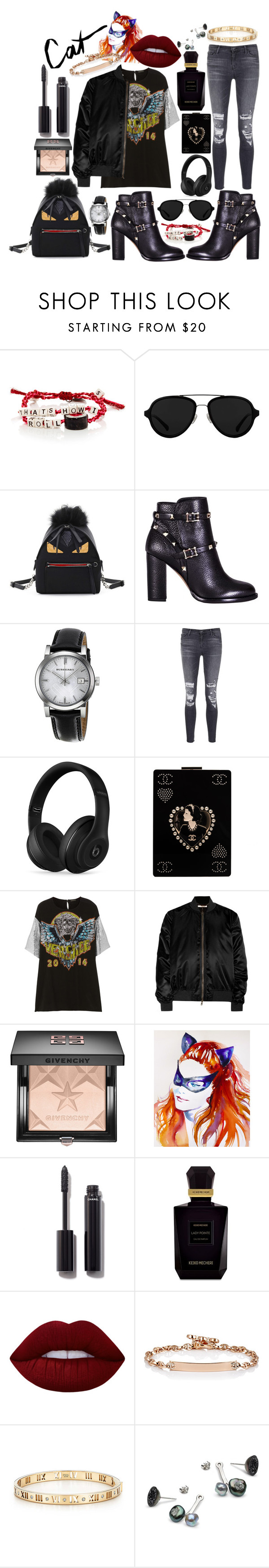 """""""Cat"""" by kat-von-g ❤ liked on Polyvore featuring Venessa Arizaga, 3.1 Phillip Lim, Fendi, Valentino, Burberry, J Brand, Beats by Dr. Dre, Chanel, Versace and Givenchy"""
