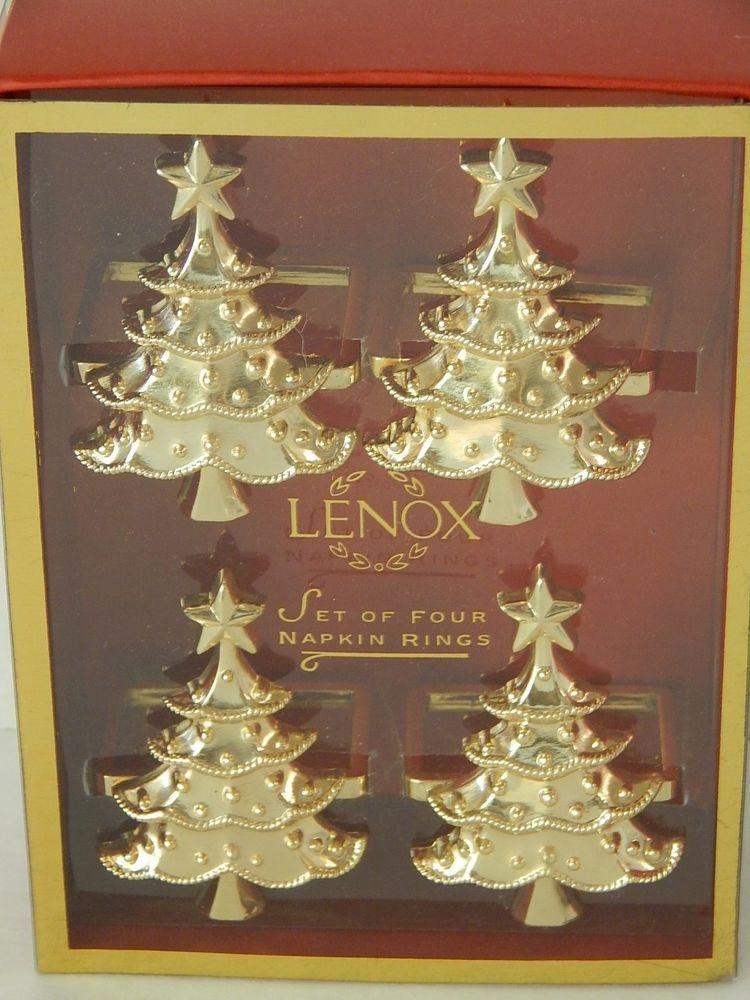 Christmas Tree Napkin Rings.Lenox Gold Christmas Tree Napkin Rings Holiday Noel Table