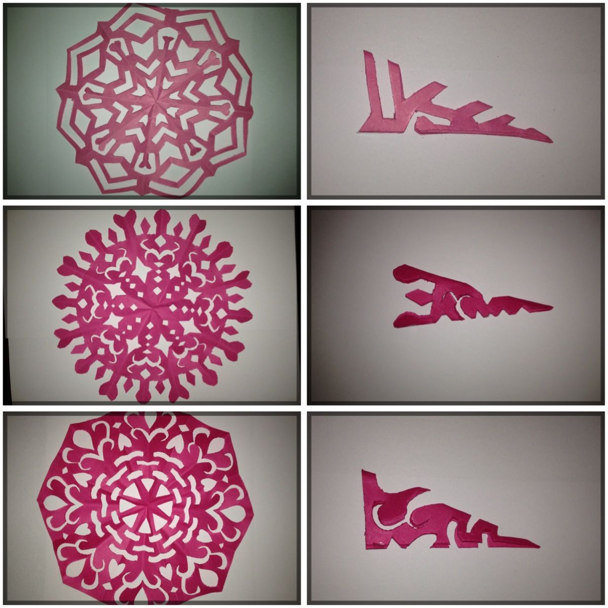 Snowflakes For Christmas Decorations In Pink Papercraft