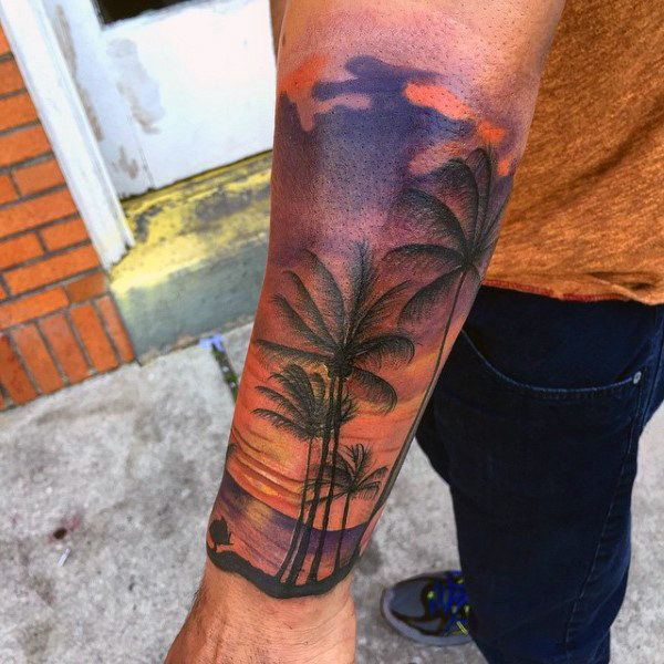 90 Sunset Tattoos For Men Fading Daylight Sky Designs Tree Sleeve Tattoo Sunset Tattoos Palm Tree Tattoo